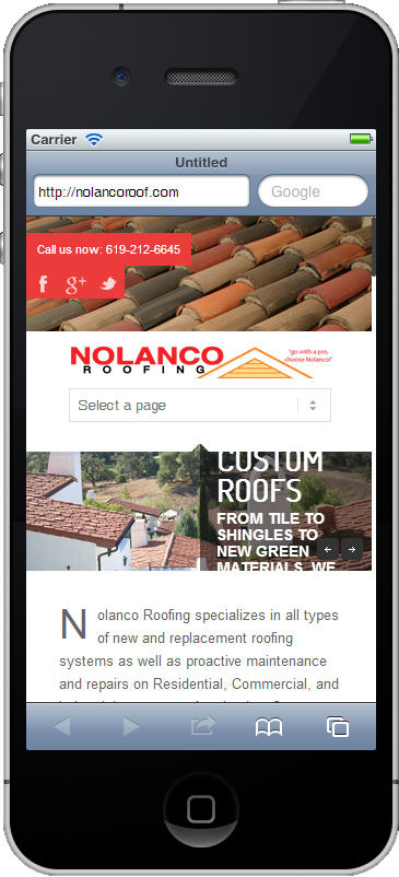 home page nolanco roof mobile image